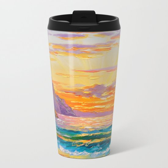 Sunset on the rocky shore Metal Travel Mug