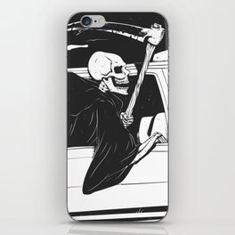 Passenger taxi grim - black and white - gothic reaper iPhone Skin