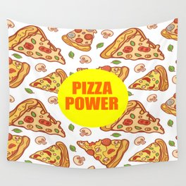 pizza power funny quote Wall Tapestry