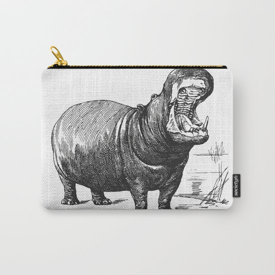 Hippopotamus black and white retro drawing Carry-All Pouch