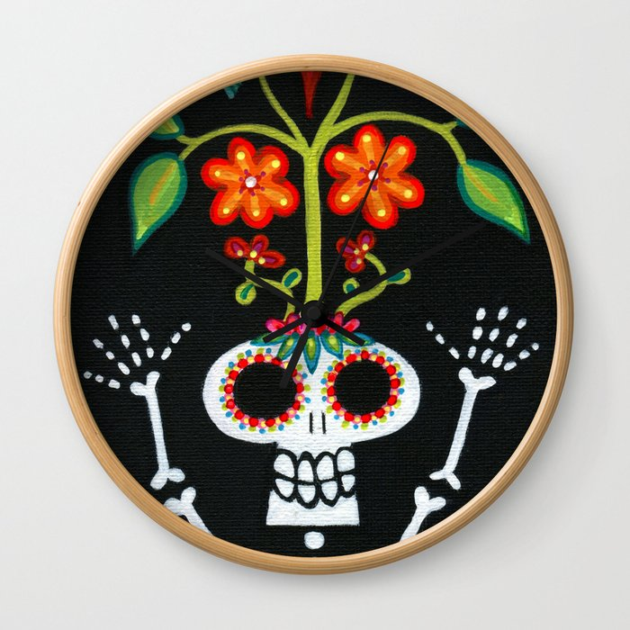 Happy Skelly with Tree Wall Clock