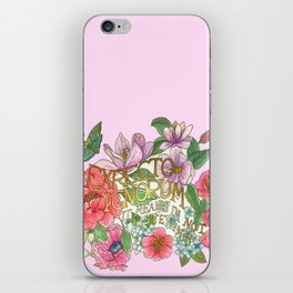 Spring Flowers And Butterfly With Quote In Latin IPhone Skin