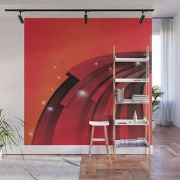 White Star Sparkles and Red Arcs Wall Mural