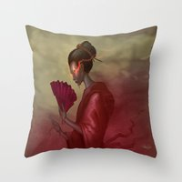 blood Throw Pillows featuring Blood by Yoncho Yonchev