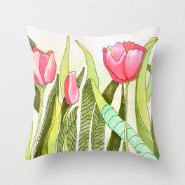 Dancing Tulips Throw Pillow