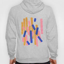 Colorful Minimalist Mid Century Modern Shapes Pink Ultramarine Blue Yellow Ochre Confetti Hoody