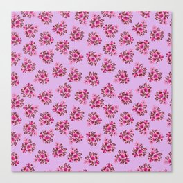 Bright Vintage Floral in Pink Canvas Print