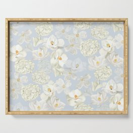 White Floral on Pale Blue Serving Tray