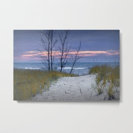 Sunset Photograph of Trees and Dune with Beach Grass at Holland Michigan Metal Print