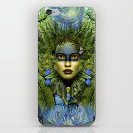 """Tropical green and indigo jungle Woman"" iPhone Skin"