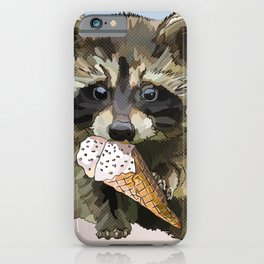 Raccoon Eating Ice-cream on the Beach | Summer Vacation | Cute Baby Animal iPhone Case