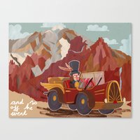 arnold Canvas Prints featuring Arnold drives by Bex Bourne