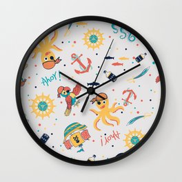 Kids Nautical Pirate Party- Baby Pink Wall Clock