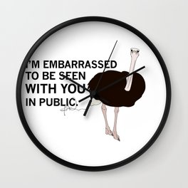Embarrassed Ostrich Wall Clock