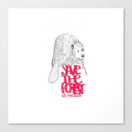 save the planet, eat more beaver Canvas Print