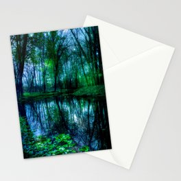 Enchanted Forest Lake Green Blue Stationery Cards