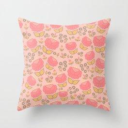 Retro floral - red, light pink, mustard Throw Pillow