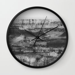 rocky mountain at Grand Canyon national park, USA in black and white Wall Clock