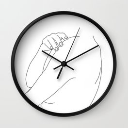 Nude figure line drawing illustration - Ember Wall Clock