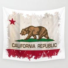 California Republic flag on woodgrain   Wall Tapestry