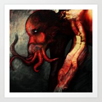 cthulu Art Prints featuring Are you there Cthulu? it's me... by Richard Bailey