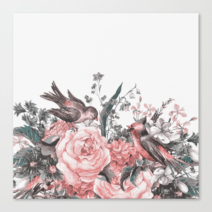 birds and flowers 2 Canvas Print