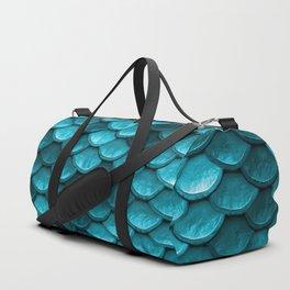 Teal Mermaid Tail Scales Duffle Bag