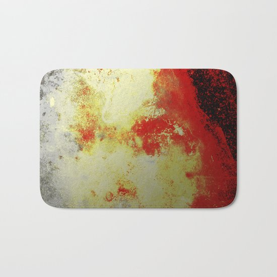 Into The Heat - Black, red, yellow and silver abstract painting Bath Mat