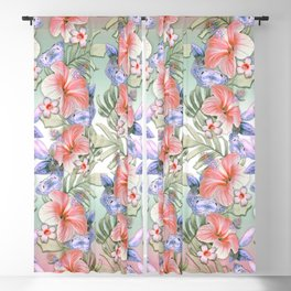 Hibiscus Aloha Stripe Blackout Curtain