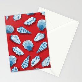 Nautical Seashells with Shadows Stationery Cards