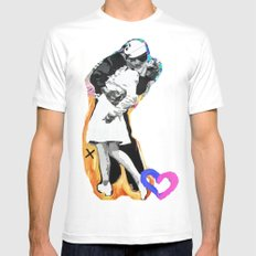 Kiss - Time Square Kiss Mens Fitted Tee MEDIUM White