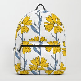 Flowers in Yellow and Blue Backpack