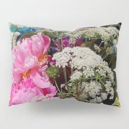 Pink Peonies & Queen Ann's Lace Bouquet Pillow Sham