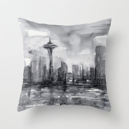 Seattle Skyline Painting Watercolor Black and White Space Needle Throw Pillow