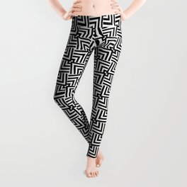 Black And White Op-Art Triangle Pattern Leggings