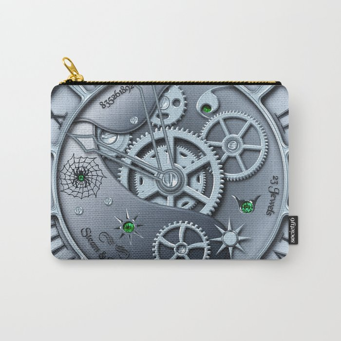 Steampunk clock silver Carry-All Pouch