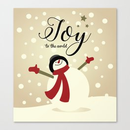 Snowman's Joy To The World Canvas Print