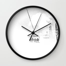 Snow Blasted // Black and White Ride on the Skilift in Blizzard Wind Wall Clock