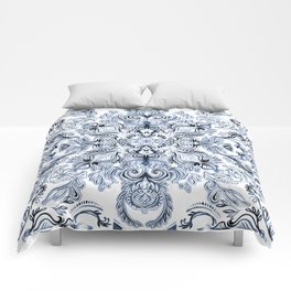 Indigo, Navy Blue and White Calligraphy Doodle Pattern Comforters