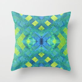 Green and blue geometric abstract motif, hand painted elements Throw Pillow
