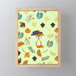 Cute fox in autumn Framed Mini Art Print