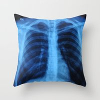 medical Throw Pillows featuring x ray medical radiography by tony tudor