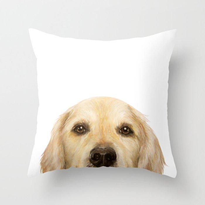Golden retriever Dog illustration original painting print Throw Pillow
