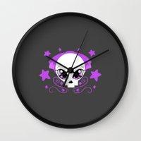 pastel goth Wall Clocks featuring Starstruck Pastel Goth by JadedZombieInk