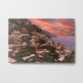 Positano Sunset, Italy, Amalfi Coast Metal Print