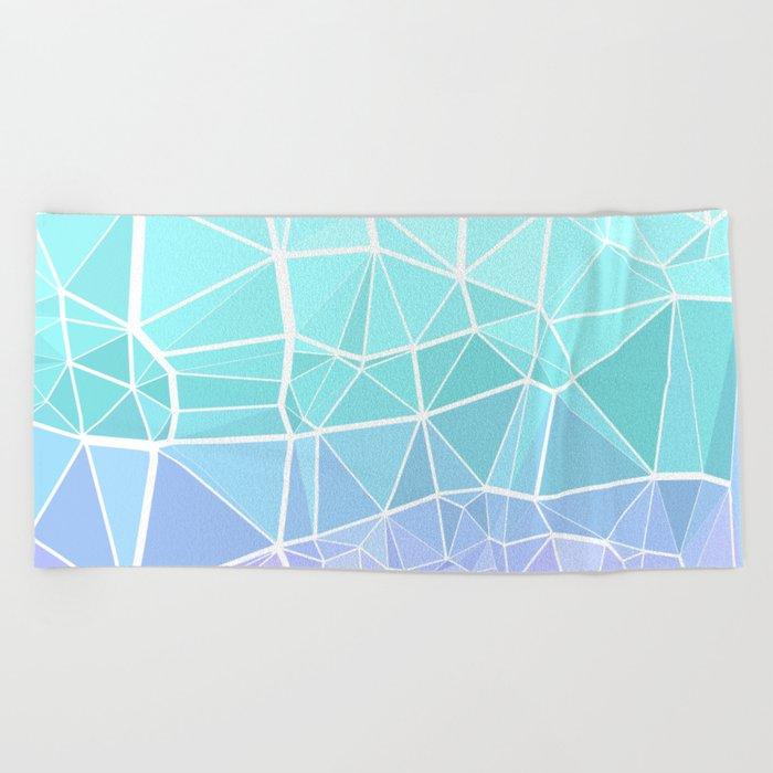 Cyan, Turquoise, and Purple Triangles Beach Towel