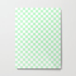 Small Checkered - White and Light Green Metal Print