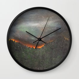 nightfall over forest Wall Clock