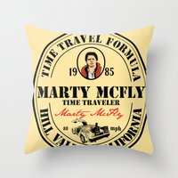 mcfly Throw Pillows featuring Marty McFly by SuperEdu