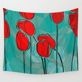 Abstract Tulips Wall Tapestry